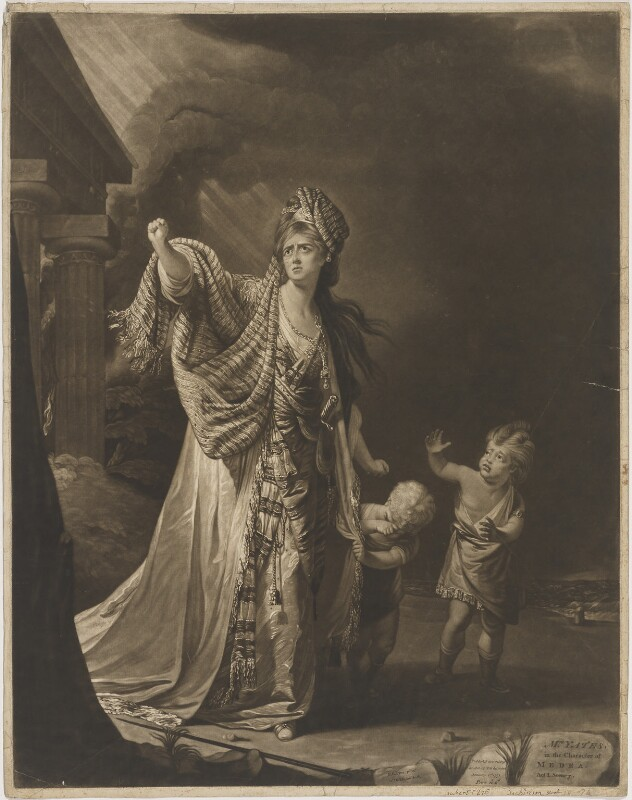 Mary Ann Yates in the character of Medea, by William Dickinson, after  Robert Edge Pine, published 1771 - NPG D36244 - © National Portrait Gallery, London