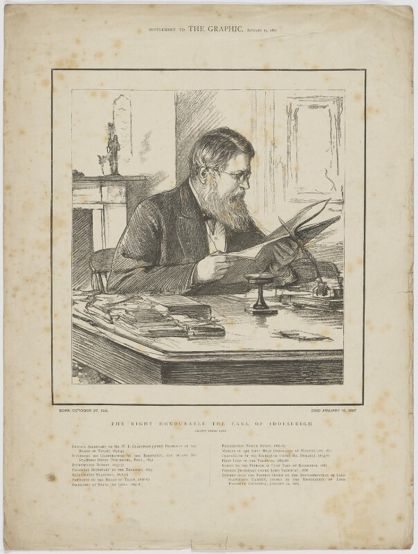 Sir Stafford Henry Northcote, 1st Earl of Iddesleigh, published by The Graphic, after  Theodore Blake Wirgman, published 15 January 1887 - NPG D36433 - © National Portrait Gallery, London