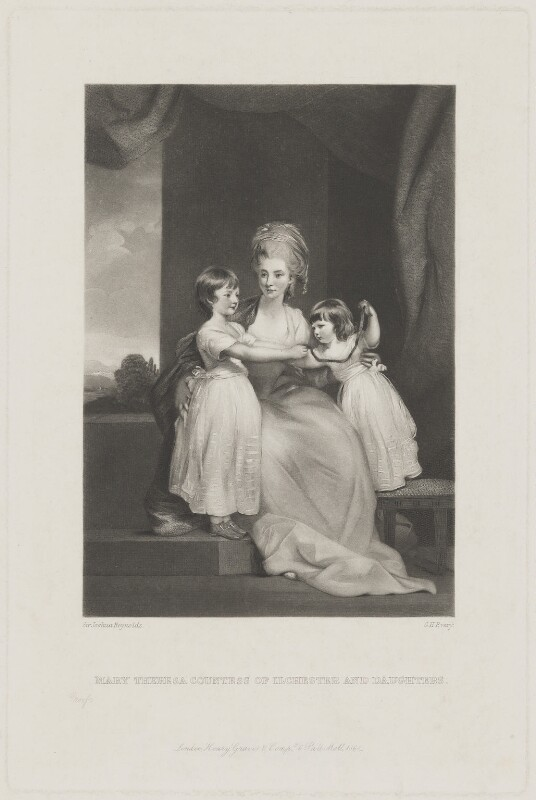 Mary Theresa, Countess of Ilchester and daughters, by George H. Every, published by  Henry Graves & Co, after  Sir Joshua Reynolds, published 1868 (1779) - NPG D36437 - © National Portrait Gallery, London