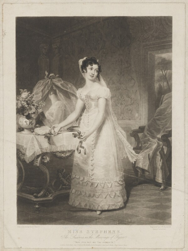 Catherine Stephens, Countess of Essex as Susanna in the Marriage of Figaro, by Samuel William Reynolds, published by  William Sams, after  Henri Jean-Baptiste Victoire Fradelle, published 1 July 1825 - NPG D36579 - © National Portrait Gallery, London