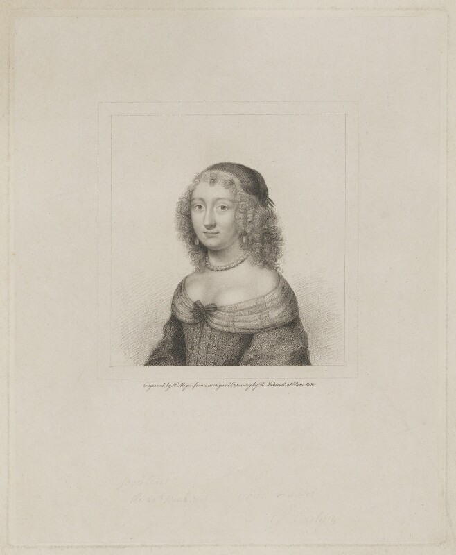 Mary Evelyn (née Browne), by Henry Meyer, after  Robert Nanteuil, published 1 February 1818 (1650) - NPG D36599 - © National Portrait Gallery, London
