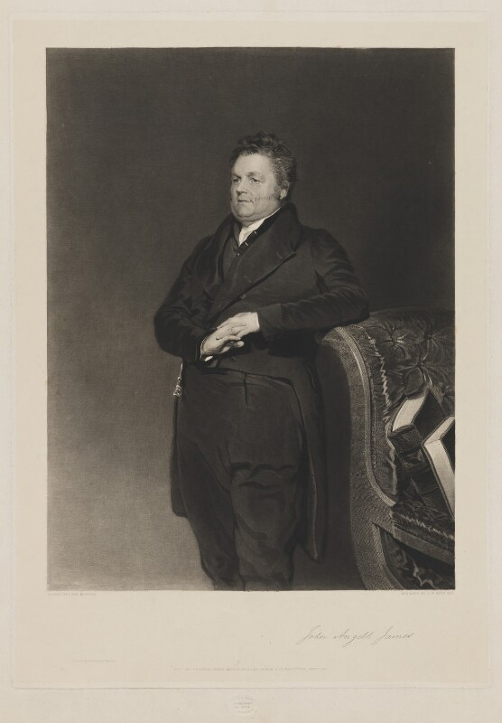 John Angell James, by Samuel William Reynolds Jr, printed by  Brooker & Harrison, published by  Thomas Agnew, after  John Bostock, published 1 January 1842 - NPG D36479 - © National Portrait Gallery, London