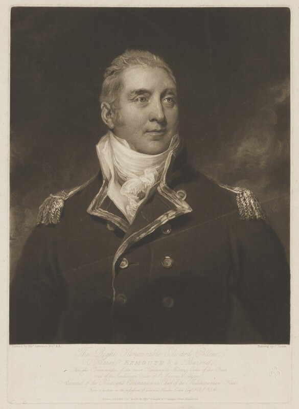 Edward Pellew, 1st Viscount Exmouth, by Charles Turner, published by  Colnaghi & Co, after  Sir Thomas Lawrence, published 12 October 1815 - NPG D36625 - © National Portrait Gallery, London