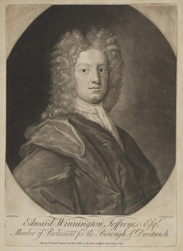 Edward Winnington Jeffreyes (Jeffries), by and published by Joseph Sympson (Simpson), after  Michael Dahl, early 18th century - NPG D36494 - © National Portrait Gallery, London