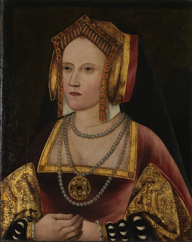 Katherine of Aragon, by Unknown artist, circa 1520 - NPG L246 - By permission of the Archbishop of Canterbury and the Church Commissioners; on loan to the National Portrait Gallery, London