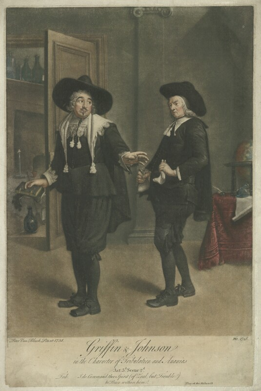 Benjamin Griffin as Tribulation; Benjamin Johnson as Ananias in Ben Jonson's 'The Alchemist' Act III, Scene 2, by Peter van Bleeck, 1748 (1738) - NPG D36529 - © National Portrait Gallery, London