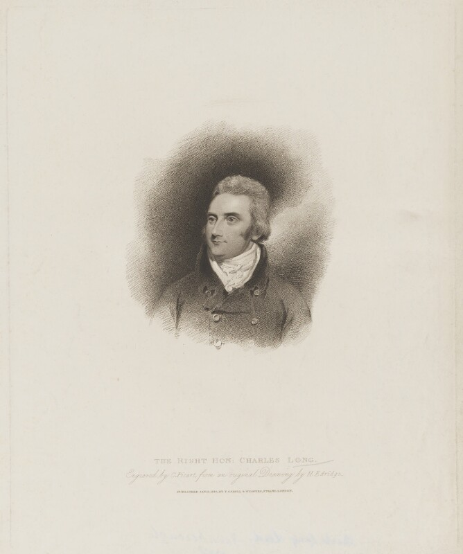 Charles Long, 1st Baron Farnborough, by Charles Picart, published by  T. Cadell & W. Davies, after  Henry Edridge, published 11 January 1810 - NPG D36655 - © National Portrait Gallery, London