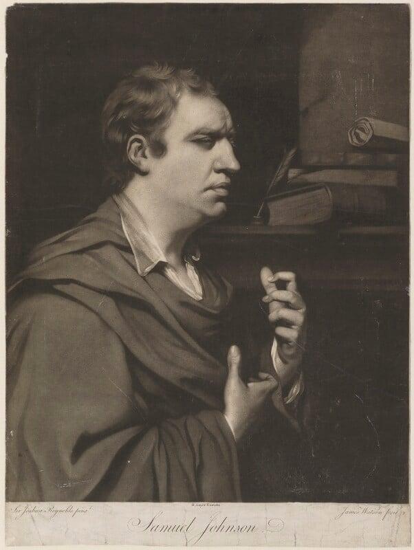 Samuel Johnson, by James Watson, published by  Robert Sayer, after  Sir Joshua Reynolds, (1769) - NPG D36536 - © National Portrait Gallery, London