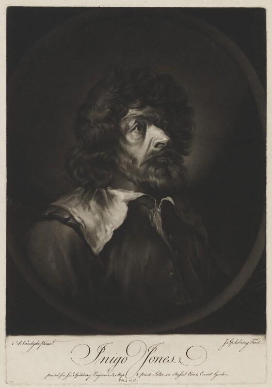 Inigo Jones, by and published by Jonathan Spilsbury, after  Sir Anthony van Dyck, published 3 February 1766 (circa 1632-1635) - NPG D36714 - © National Portrait Gallery, London