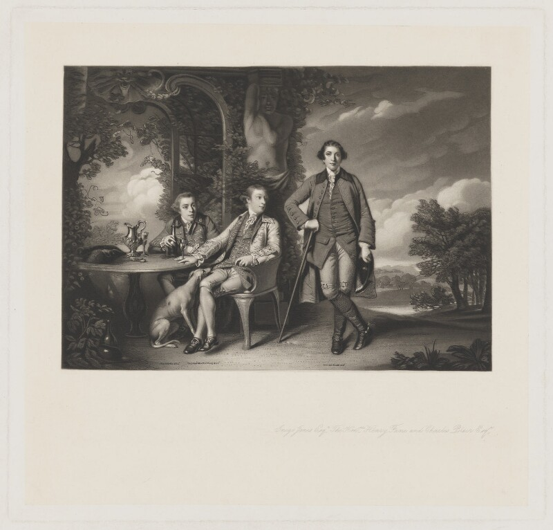 Inigo Jones; Hon. Henry Fane; Charles Blair, by James Scott, after  Sir Joshua Reynolds, (1761-1766) - NPG D36715 - © National Portrait Gallery, London