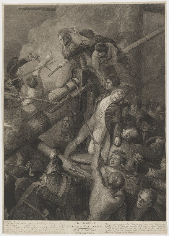 Robert Faulknor ('The Death of Captain Faulknor'), etched by William Bromley, engraved by  C. Blackberd, after  Thomas Stothard, published 1800 - NPG D36667 - © National Portrait Gallery, London