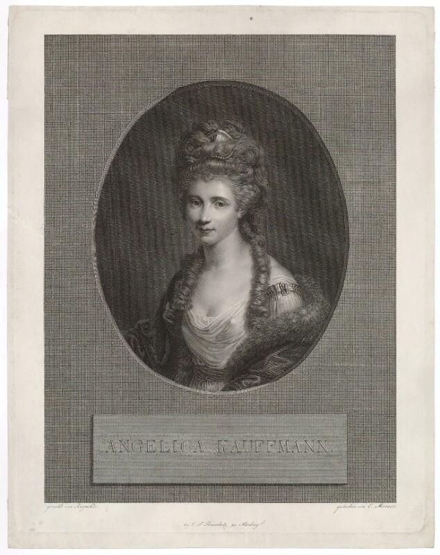 Angelica Kauffmann, by Ernst Morace, published by  Johann Friedrich Frauenholz, after  Sir Joshua Reynolds, early 19th century (circa 1777-1778) - NPG D36750 - © National Portrait Gallery, London