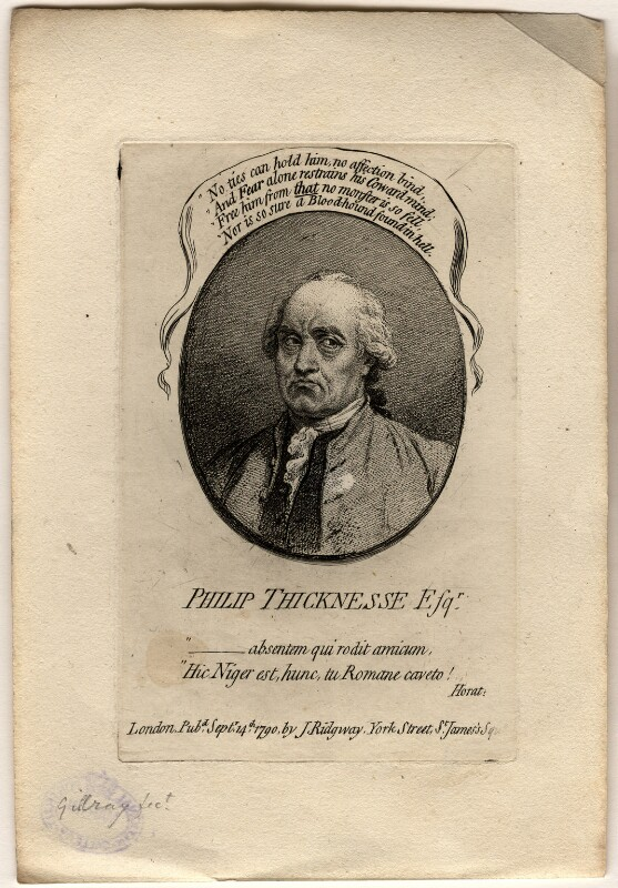 Philip Thicknesse, by James Gillray, published by  James Ridgway, published 14 September 1790 - NPG D10953 - © National Portrait Gallery, London