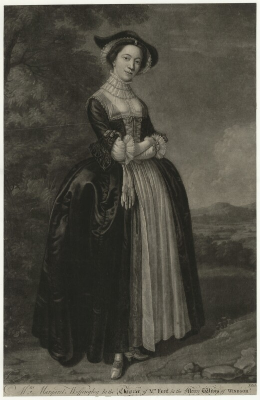 Peg Woffington ('Mrs Margaret Woffington in the character of Mrs Ford in the Merry Wives of Windsor'), by John Faber Jr, after  Edward Haytley, published 1745 - NPG D36313 - © National Portrait Gallery, London