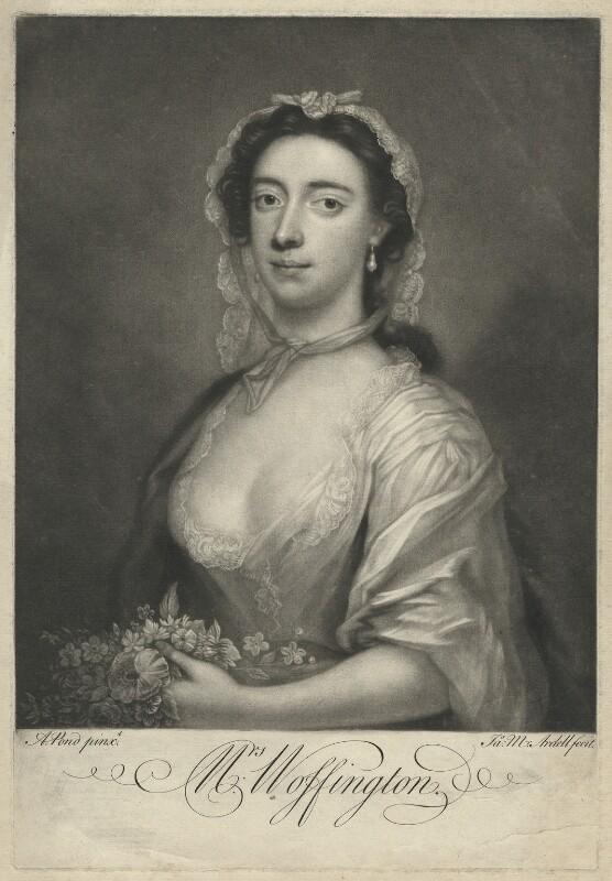 Peg Woffington, by James Macardell, after  Arthur Pond, circa 1750-1765 - NPG D36315 - © National Portrait Gallery, London