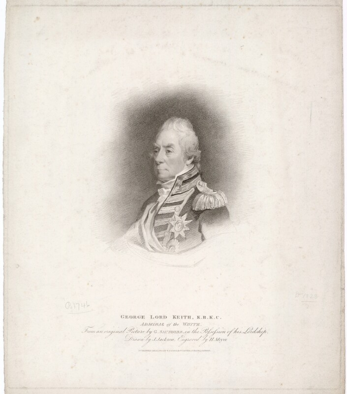 George Keith Elphinstone, Viscount Keith, by Henry Meyer, published by  T. Cadell & W. Davies, after  John Jackson, after  George Sanders (Saunders), published 1 February 1812 - NPG D36768 - © National Portrait Gallery, London