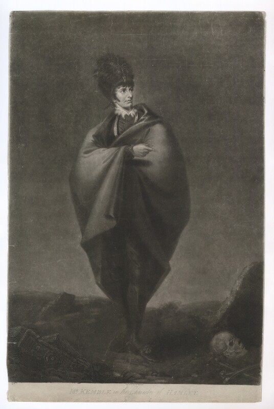 John Philip Kemble as Hamlet, by William Barnard, published by  H. Fuller, after  George Hounsom, published 1 November 1803 - NPG D36812 - © National Portrait Gallery, London
