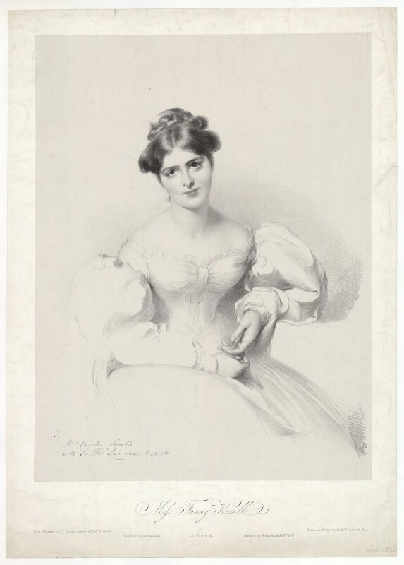 Fanny Kemble, by Richard James Lane, printed by  Charles Joseph Hullmandel, published by  Joseph Dickinson, after  Sir Thomas Lawrence, published 28 January 1830 - NPG D36821 - © National Portrait Gallery, London