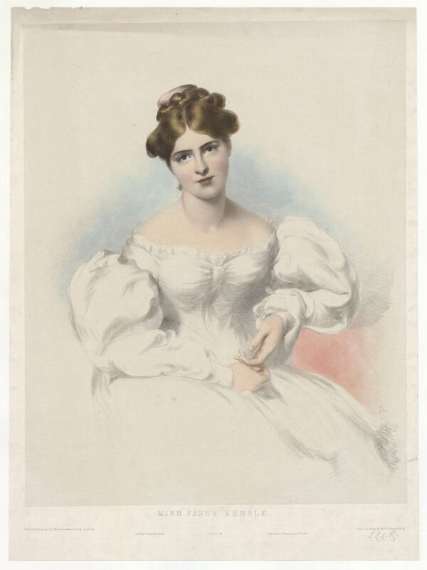 Fanny Kemble, by Richard James Lane, printed by  Charles Joseph Hullmandel, published by  Joseph Dickinson, after  Sir Thomas Lawrence, published 20 December 1829 - NPG D36824 - © National Portrait Gallery, London