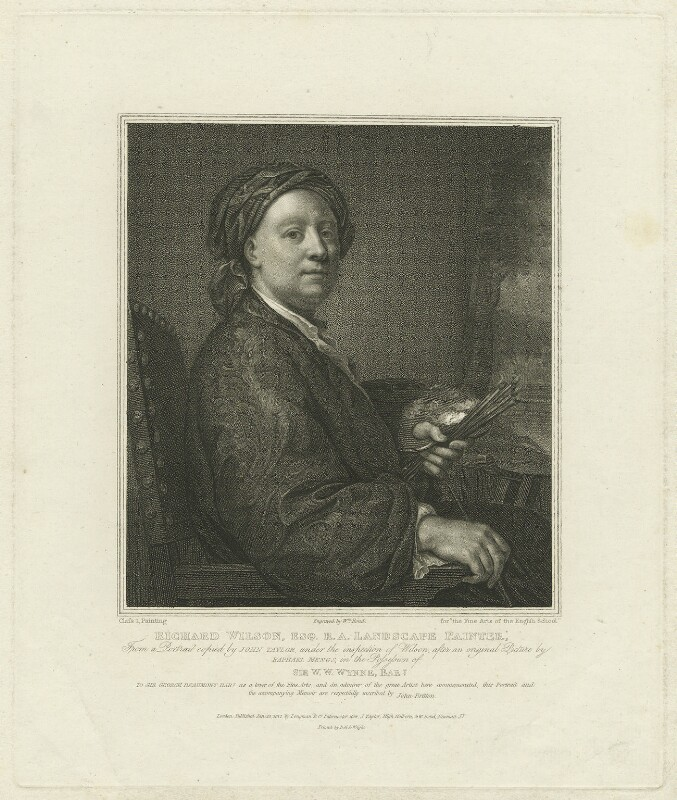 Richard Wilson, by William Bond, printed by  Bell & Wright, published by  Longman & Co, published by  Josiah Taylor, published by  William Bond, after  Anton Raphael Mengs, published 20 January 1812 - NPG D37031 - © National Portrait Gallery, London