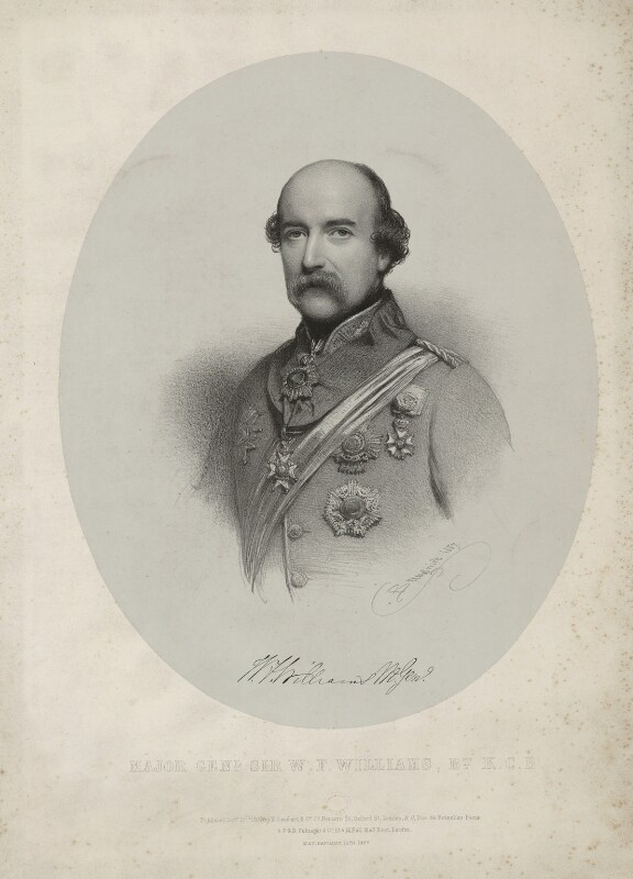 Sir William Fenwick Williams, 1st Bt, by Charles Baugniet, printed by  M & N Hanhart, published by  Ernest Gambart & Co, and published by  Paul and Dominic Colnaghi & Co, published 15 October 1857 - NPG D37083 - © National Portrait Gallery, London