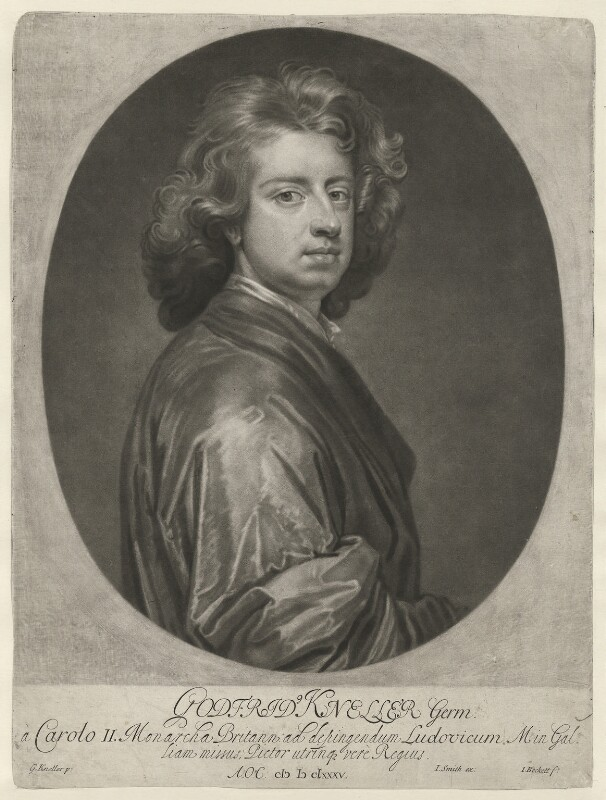 Sir Godfrey Kneller, Bt, by Isaac Beckett, published by  John Smith, after  Sir Godfrey Kneller, Bt, 1685-1688 (1685) - NPG D36899 - © National Portrait Gallery, London