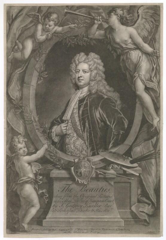 Sir Godfrey Kneller, Bt, by John Faber Jr, printed and sold by  Robert Sayer, printed and sold by  John King, after  John Vanderbank, after  Sir Godfrey Kneller, Bt, circa 1719-1725 - NPG D36900 - © National Portrait Gallery, London