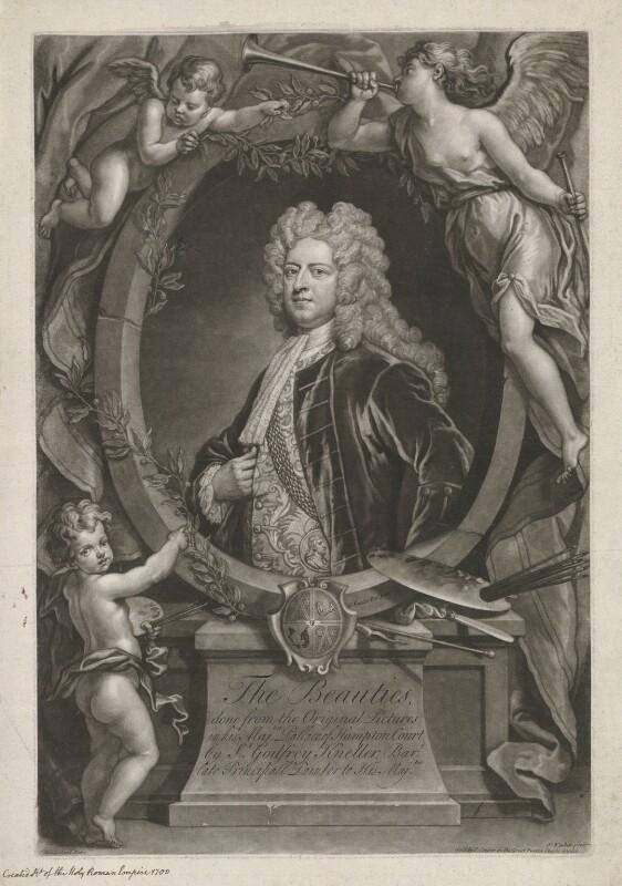 Sir Godfrey Kneller, Bt, by John Faber Jr, published by  John Cooper, after  John Vanderbank, after  Sir Godfrey Kneller, Bt, published 1727 - NPG D36901 - © National Portrait Gallery, London