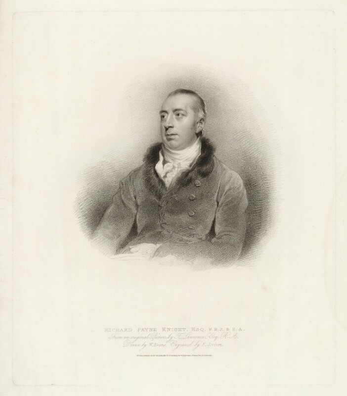 Richard Payne Knight, by Edward Scriven, published by  T. Cadell & W. Davies, after  William Evans, after  Sir Thomas Lawrence, published 30 May 1811 (1805) - NPG D37105 - © National Portrait Gallery, London