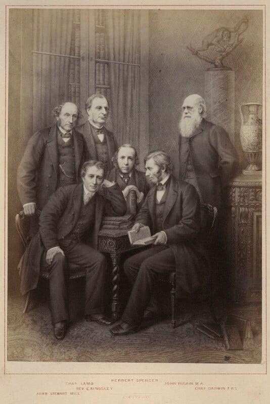 'Authors' (John Stuart Mill; Charles Lamb; Charles Kingsley; Herbert Spencer; John Ruskin; Charles Darwin), published by Hughes & Edmonds, published 1876 - NPG Ax132900 - © National Portrait Gallery, London