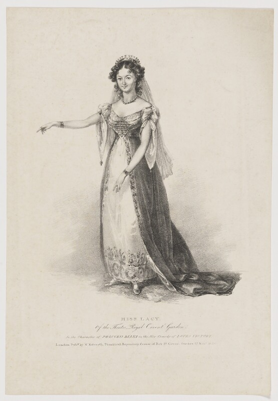Maria Ann Lovell (née Lacy) as Princess Diana in 'Love's Victory', published by William Kenneth, published 27 November 1826 - NPG D37128 - © National Portrait Gallery, London