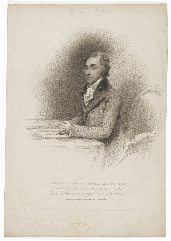 Aylmer Bourke Lambert, by William Evans, published by  T. Cadell & W. Davies, after  Henry Edridge, published 11 August 1801 - NPG D37137 - © National Portrait Gallery, London