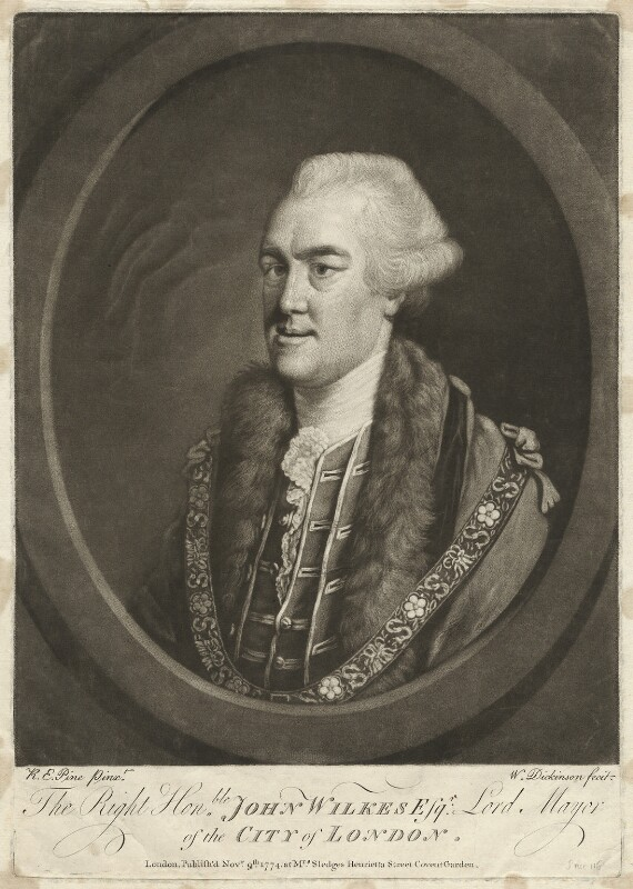 John Wilkes, by William Dickinson, published by  S. Sledge, after  Robert Edge Pine, published 1768 - NPG D37523 - © National Portrait Gallery, London