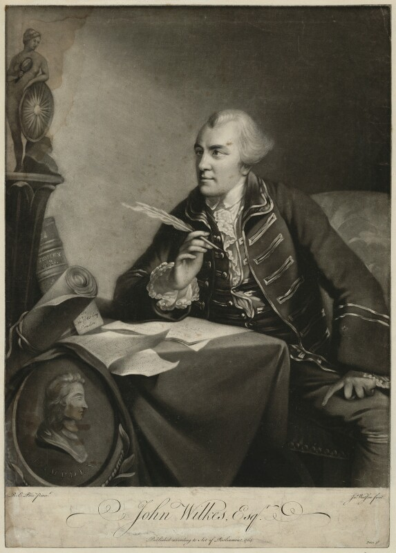 John Wilkes, by James Watson, after  Robert Edge Pine, published 1764 - NPG D37526 - © National Portrait Gallery, London