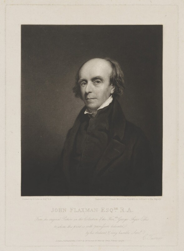 John Flaxman, by and published by Charles Turner, after  John Jackson, published 1 May 1827 (circa 1820) - NPG D36972 - © National Portrait Gallery, London
