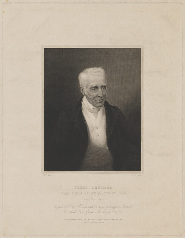 Arthur Wellesley, 1st Duke of Wellington, by Henry Thomas Ryall, published by  James Watson, published by  Goupil & Vibert, after  Abraham Solomon, after  Antoine Claudet, published 1 May 1845 (1 May 1844) - NPG D37582 - © National Portrait Gallery, London