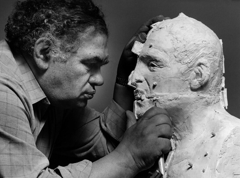 Sir Eduardo Paolozzi, by Frank Thurston, 1988 - NPG x88683 - © reserved; collection National Portrait Gallery, London