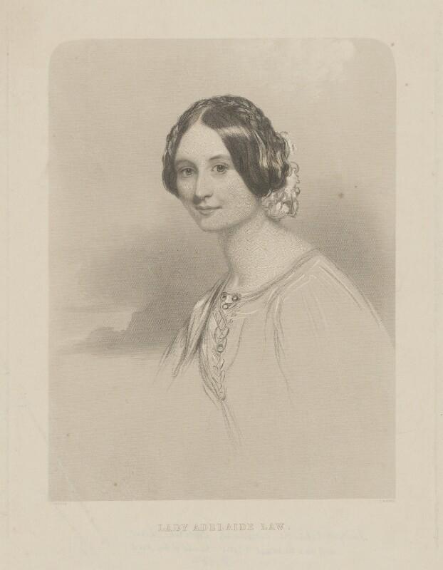 Lady Adelaide Emeline Caroline Law (née Vane), by Joseph Brown, after  John Hayter, published mid 19th century - NPG D37206 - © National Portrait Gallery, London