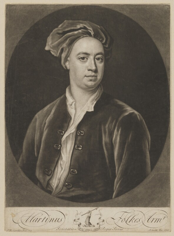Martin Folkes, by John Smith, after  Jonathan Richardson, 1719 (1718) - NPG D36990 - © National Portrait Gallery, London