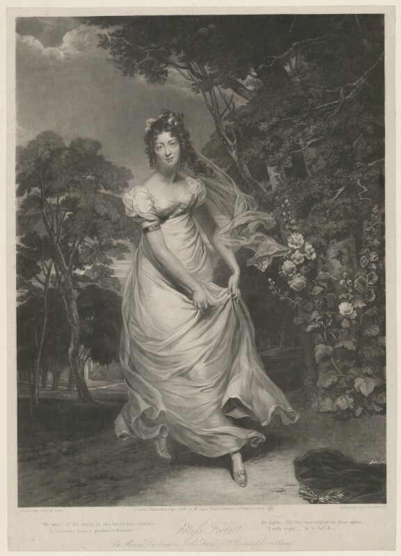 Maria Stanhope (née Foote), Countess of Harrington, by Thomas Goff Lupton, published by  William Sams, after  George Clint, published 1 September 1824 - NPG D37715 - © National Portrait Gallery, London