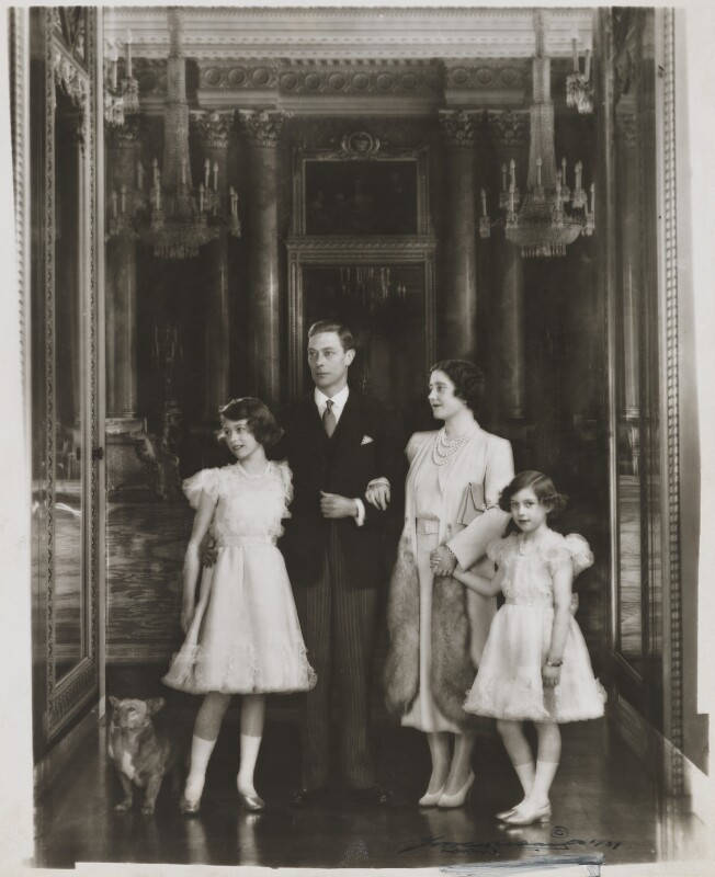 Queen Elizabeth II; King George VI; Queen Elizabeth, the Queen Mother; Princess Margaret, by Marcus Adams, 1938 - NPG x132908 - © estate of Bertram Park / National Portrait Gallery, London
