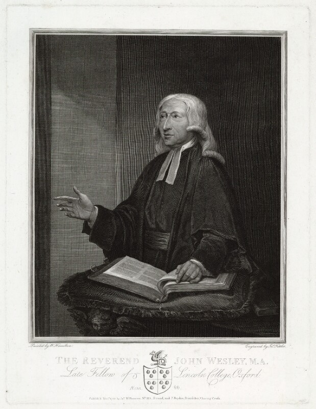 John Wesley, by James Fittler, published by  James Milbourne, published by  John Brydon, after  William Hamilton, published November 1788 (1788) - NPG D37685 - © National Portrait Gallery, London