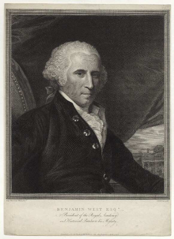 Benjamin West, by and published by Thomas Holloway, after  Benjamin West, published 25 April 1798 - NPG D37692 - © National Portrait Gallery, London