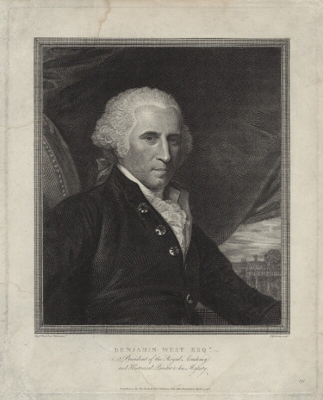 Benjamin West, by and published by Thomas Holloway, after  Benjamin West, published 25 April 1798 - NPG D37693 - © National Portrait Gallery, London