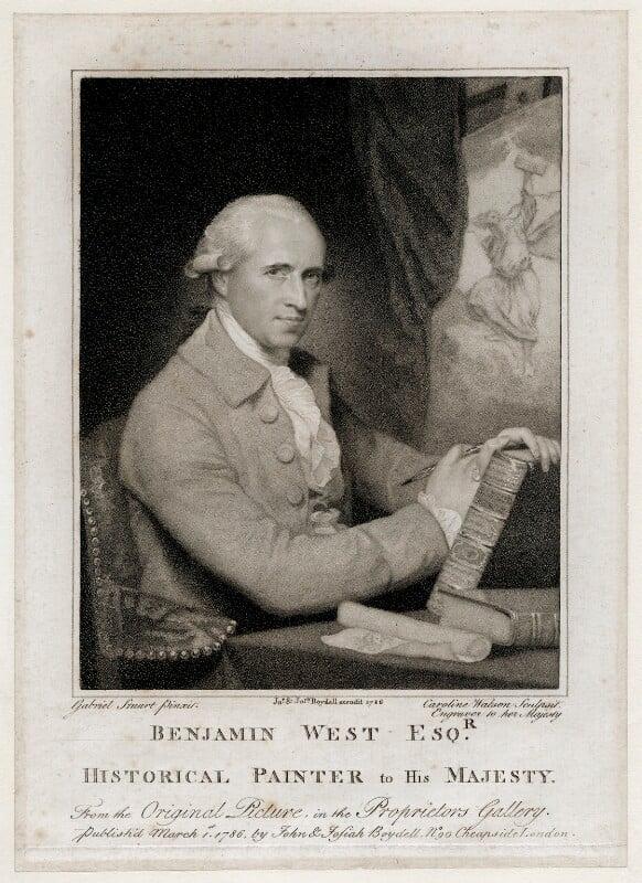 Benjamin West, by Caroline Watson, published by  John Boydell, published by  Josiah Boydell, after  Gilbert Stuart, published 1786 (circa 1785) - NPG D37694 - © National Portrait Gallery, London