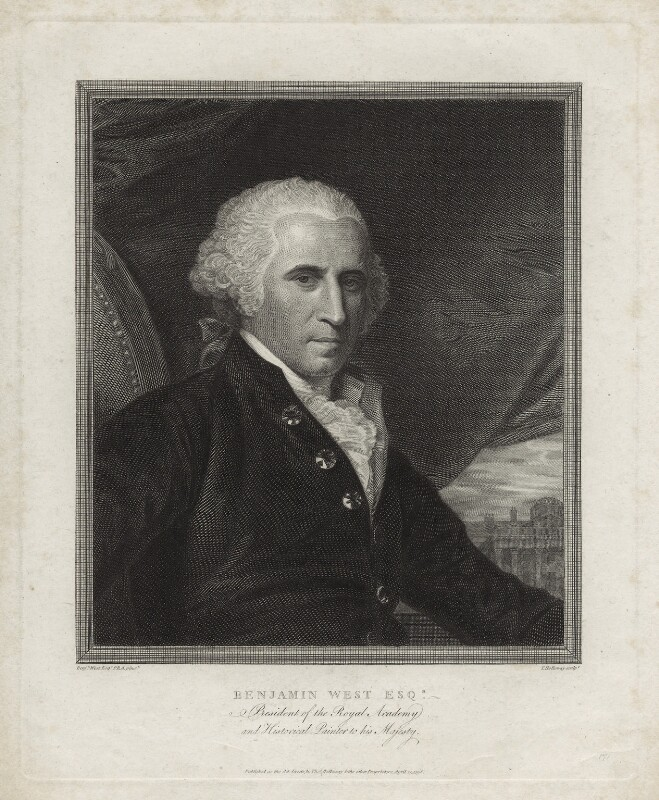 Benjamin West, by and published by Thomas Holloway, after  Benjamin West, published 25 April 1798 - NPG D37696 - © National Portrait Gallery, London
