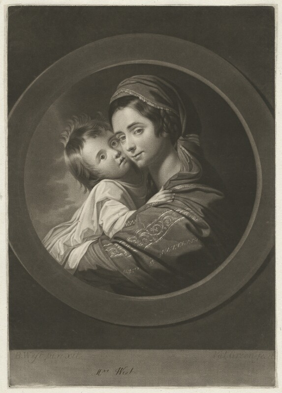 Elizabeth West (née Shewell); Raphael West, by Valentine Green, published by  Robert Sayer, after  Benjamin West, published 1770 - NPG D37820 - © National Portrait Gallery, London