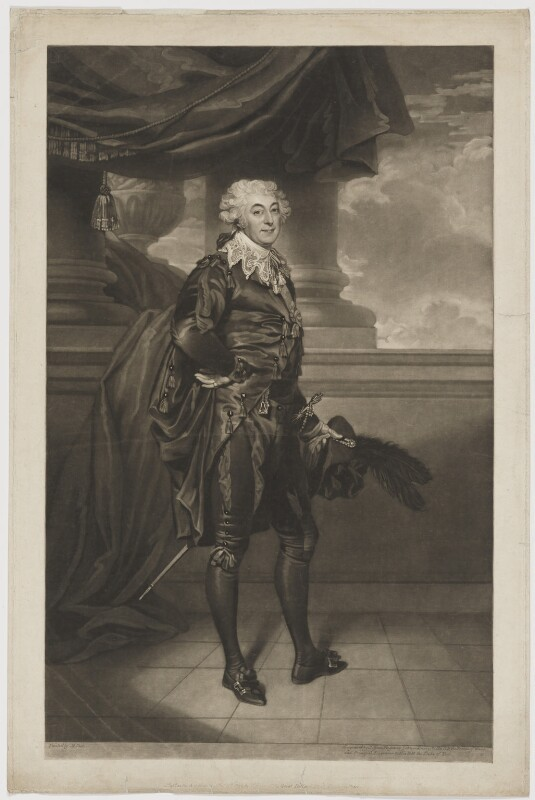 William Thomas Lewis as the Marquis in Elizabeth Inchbald's 'The Midnight Hour', by and published by John Jones, after  Sir Martin Archer Shee, published 17 November 1792 - NPG D37317 - © National Portrait Gallery, London