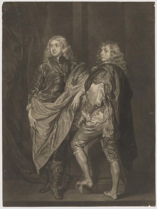 Lord John Stuart; Lord Bernard Stuart, by James Macardell, after  Sir Anthony van Dyck, mid 18th century (circa 1638) - NPG D37326 - © National Portrait Gallery, London