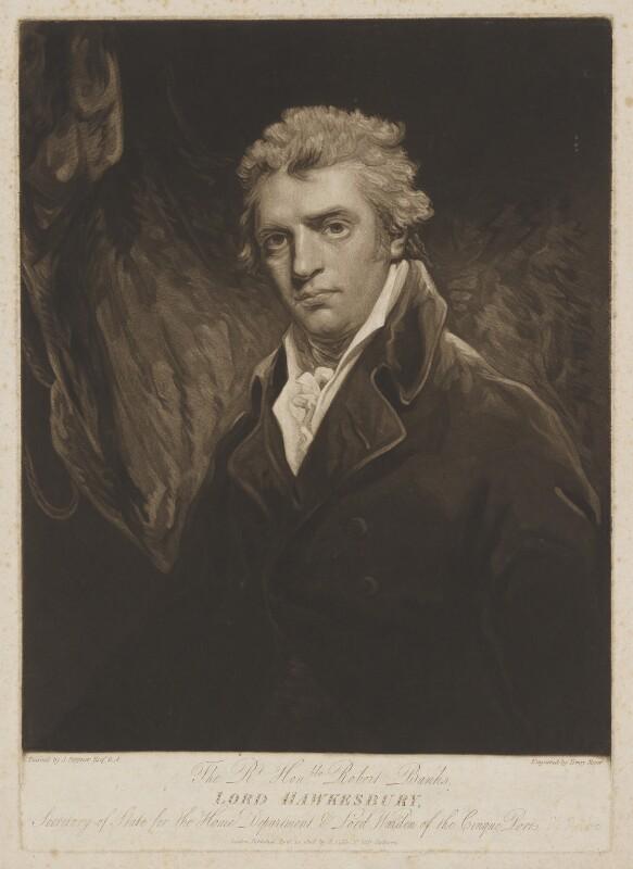 Robert Banks Jenkinson, 2nd Earl of Liverpool, by Henry Meyer, published by  Robert Cribb, after  John Hoppner, published 14 April 1808 - NPG D37372 - © National Portrait Gallery, London